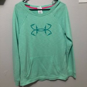 Teal under armour sweater with pocket. Medium.